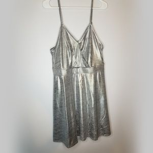 NWOT silver foiled metallic strappy dress